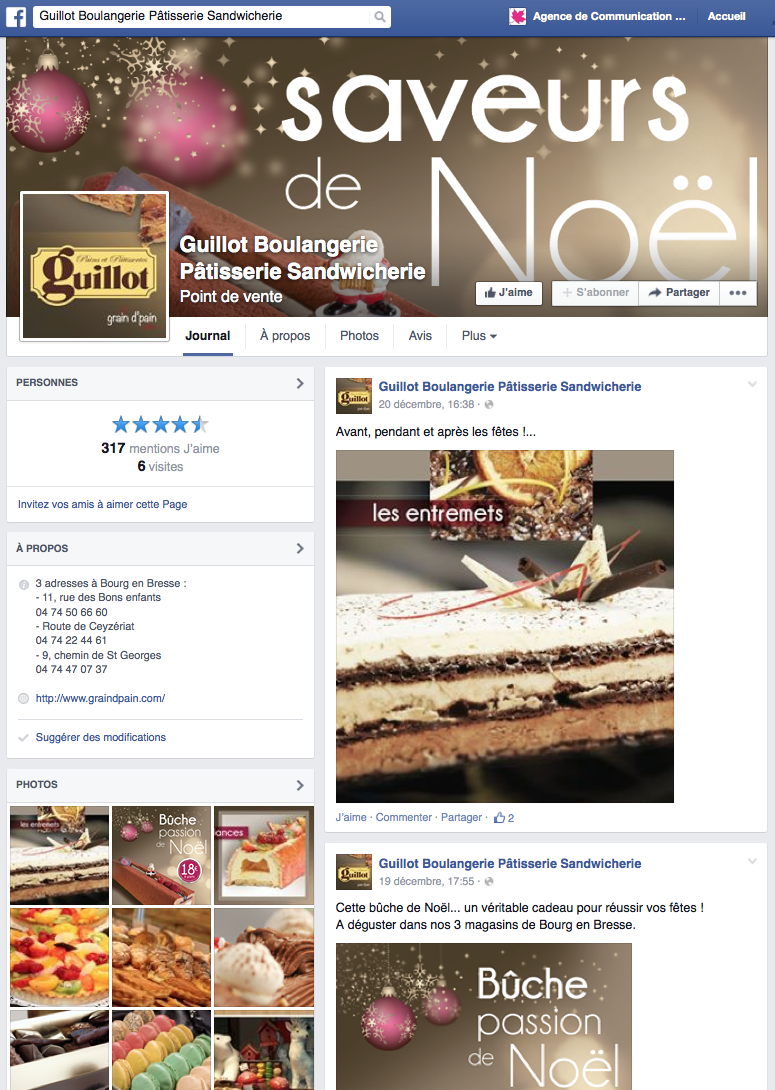 action de communication Facebook pour les boulangeries Guillot